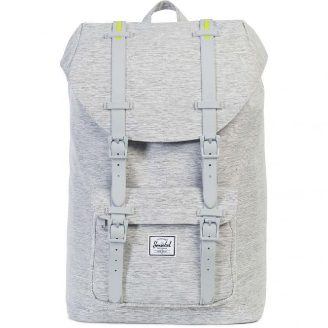 Herschel Little America Mid-Volume Backpack Rucksack 40.5 cm - light grey crosshatch/light grey rubber/acid lime insert