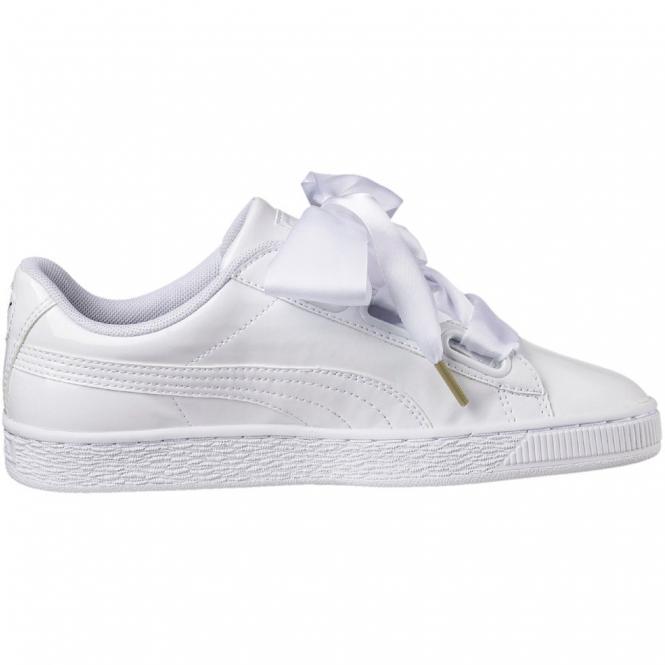 Puma Basket Heart Patent Damen Sneaker Schuh 363073 - 38  puma white-puma white