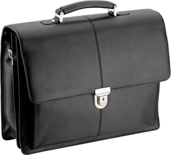 D&N Business Line Aktentasche Leder mit 1 Verschluss 40 cm - schwarz