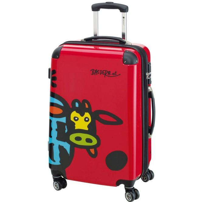 Check In Kuh Family 4-Rollen-Trolley L 66 cm - rot