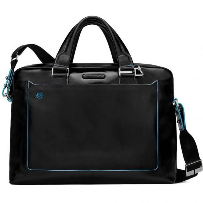 "Piquadro Blue Square Doppelgriff-Laptoptasche  38,5 cm 15"" - black"